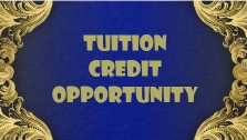 Tuition credit opportunity blue and gold background